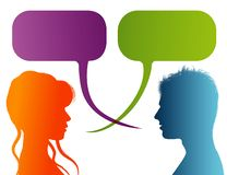 Vector isolated Silhouette of colored profile. Speech bubble. Talking between a man and a woman. Dialogue - discussion - chat comm. Possible use for stock illustration