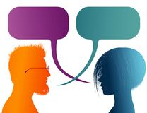 Vector isolated Colored profile silhouette with speech bubble. Talking between a man and a woman. Dialogue - discussion - communic. Possible use for royalty free illustration
