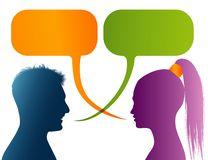 Vector isolated Colored profile silhouette with speech bubble. Talking between a man and a woman. Dialogue - discussion - chat com. Possible use for royalty free illustration