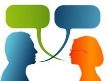 Vector isolated Silhouette of colored profile. Speech bubble. Talking between a man and a woman. Dialogue - discussion - chat comm. Possible use for royalty free illustration