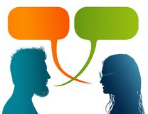 Vector isolated Colored profile silhouette with speech bubble. Talking between a man and a woman. Dialogue - discussion - communic. Possible use for stock illustration