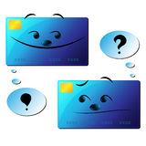 Dialogue of credit cards. Vector illustration of talking credit cards Royalty Free Stock Image
