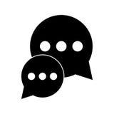 Dialogue d'entretien de bulle de silhouette causant le media social Photographie stock