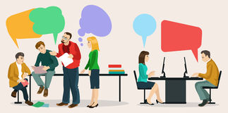 Dialogue. Images of modern humans, leading a dialogue with colorful speech bubbles. Speech bubbles in the form of puzzles. Dialogue and consensus stock illustration