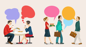Dialogue. Images of modern humans, leading a dialogue with colorful speech bubbles. Speech bubbles in the form of puzzles. Dialogue and consensus vector illustration