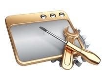 Dialogue la ventana con la rueda y el destornillador de engranaje del oro Fotos de archivo libres de regalías