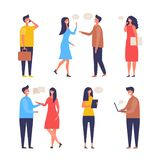 Dialogue people. Communication characters web chat discuss businessman active discussion vector flat pictures royalty free illustration