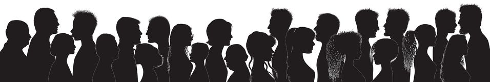Dialogue between people. Talking crowd. Black silhouette profile. People talking. People of different cultures. Communication vector illustration
