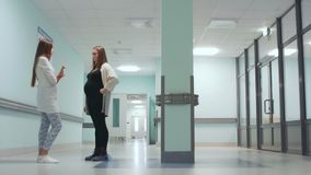 Dialogue between a pregnant woman and a female doctor in the corridor of the hospital. Preparation for childbirth. Maternity consultation stock footage