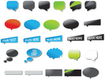Dialogue or speech balloons. A collection or set of illustrated dialogue or speech balloons.  White background Royalty Free Stock Photo