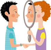Dialogue two people mirror. Psychology communication two people talking reflection mirror social Vector Illustration