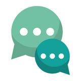 Dialogue vert d'entretien de bulle causant le media social Image libre de droits