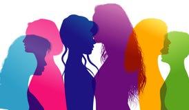 Dialogue between women. Women talking. Conversation between women. Colored silhouette profiles. Multiple exposure. Profiles of women talking. Silhouettes of royalty free illustration