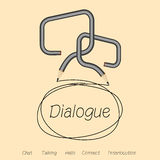 Dialoog, bespreking of praatje door dialoogdoos Stock Fotografie