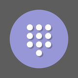 Dialpad, numeric keypad flat icon. Round colorful button, circular vector sign with shadow effect. Flat style design. Stock Image