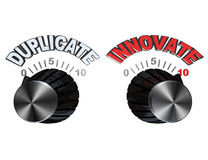 Dials - Knobs turned from Duplicate to Innovate. Two dials showing opposite approaches to creating a new product or solving a problem: you can either copy or Royalty Free Stock Images