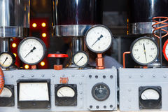 Dials of a steam engine Royalty Free Stock Photo