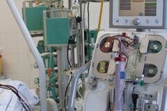 Dialysis machine in ICU in hospital,  a place where can be treated patients with pneumonia caused by coronavirus covid-19