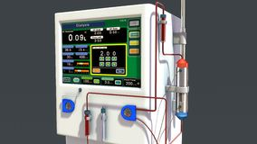 Dialysis Machine. In medicine, dialysis, is a process for removing waste and excess water from the blood and is used primarily as an artificial replacement for Royalty Free Stock Images