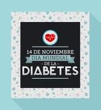 Diamètre de la Diabetes mundial - le monde diabète jour Espagnol du 14 novembre textotent Image stock