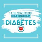 Diamètre de la Diabetes mundial - le monde diabète jour Espagnol du 14 novembre textotent Images libres de droits
