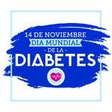 Diamètre de la Diabetes mundial, monde diabète jour texte espagnol du 14 novembre illustration libre de droits