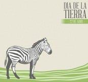 Diamètre de la tierra - illustration espagnole des textes de jour de terre avec le fond de vintage illustration stock