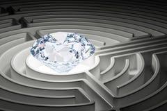 Diamant à l'intérieur de labyrinthe de labyrinthe 3d Photographie stock libre de droits