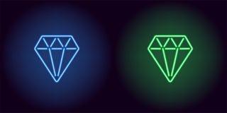Diamant au néon dans la couleur bleue et verte Photo stock