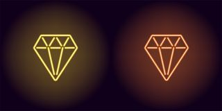 Diamant au néon dans la couleur jaune et orange Photo libre de droits