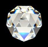 Diamant bij het zwarte 3D teruggeven wordt als achtergrond geïsoleerd die Stock Afbeelding