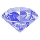 Diamant bleu d'isolement sur le fond blanc Photos stock