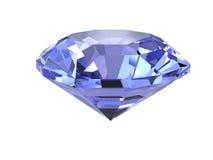 Diamant bleu sur le fond blanc Photographie stock libre de droits
