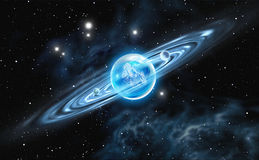 Diamant - crystal planet med en stenig kärna Arkivbilder