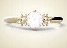 Diamant de wiith d'anneau de mariage illustration 3D Photographie stock