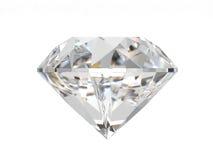 Diamant die op witte achtergrond wordt geïsoleerdt Royalty-vrije Stock Foto's