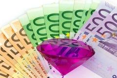 Diamant en geld Stock Foto's