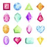 Diamant en halfedelsteenreeks, kostbaar ontwerp voor gift stock illustratie