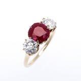 Diamant en Robijnrode Ring Royalty-vrije Stock Fotografie