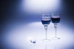 Diamant et vin de luxe du jour de Valentine Image libre de droits