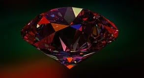 Diamant, gemstone eller reflekterande ljus för kristall på röd bakgrund Arkivfoto