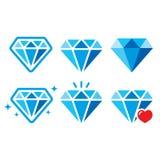 Diamant, geplaatste luxe blauwe pictogrammen - rijkdomconcept stock illustratie