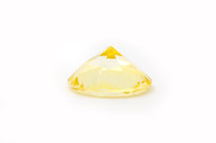 Diamant jaune d'isolement Image libre de droits