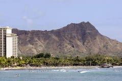 Diamant-Kopf u. Waikiki Strand lizenzfreie stockfotos