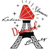 Diamant mit Farben des Eiffelturms zwei Lizenzfreie Stockfotos