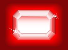 Diamant op rode achtergrond. Stock Afbeelding