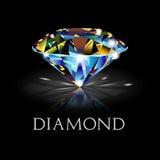Diamant op Zwarte Achtergrond Stock Fotografie