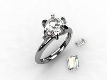 Diamant-Platinsolitaire-Verlobungsring Stockbilder