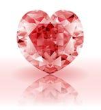 Diamant rouge, pierre gemme rouge en forme de coeur Images libres de droits