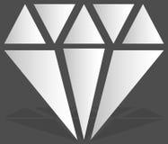 Diamant simple, signe de bijoux, symbole Pierre précieuse, icône rouge, Photographie stock libre de droits